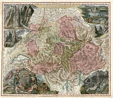 Europe and Switzerland Map By Matthaus Seutter