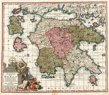 Europe, Greece, Mediterranean and Balearic Islands Map By Matthaus Seutter