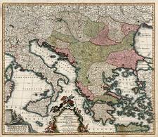 Europe, Hungary, Balkans, Greece and Mediterranean Map By Matthaus Seutter