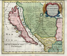 Southwest, Mexico, Baja California and California Map By Nicolas Sanson
