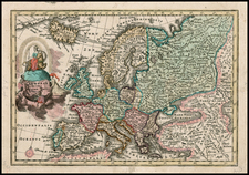Europe and Europe Map By Adam Friedrich Zurner / Johann Christoph Weigel