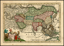 Asia and Asia Map By Adam Friedrich Zurner / Johann Christoph Weigel