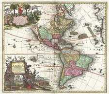 World, Western Hemisphere, South America and America Map By Matthaus Seutter