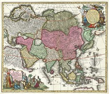 Asia and Asia Map By Matthaus Seutter