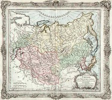 Asia, China, Japan, Korea and Russia in Asia Map By Louis Brion de la Tour