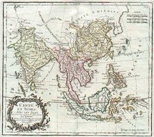 Asia, China, India, Southeast Asia and Philippines Map By Louis Brion de la Tour