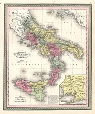 Europe, Italy, Mediterranean and Balearic Islands Map By Thomas, Cowperthwait & Co.