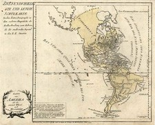 South America and America Map By Franz Johann Joseph von Reilly