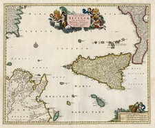 Europe, Italy, Mediterranean and Balearic Islands Map By Nicolaes Visscher I