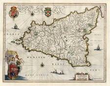 Europe, Italy, Mediterranean and Balearic Islands Map By Willem Janszoon Blaeu