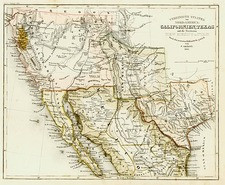 Texas, Southwest, Mexico and California Map By Joseph Meyer