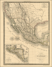 Texas, Southwest, Rocky Mountains and California Map By Alexandre Emile Lapie
