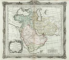 Asia, Middle East and Turkey & Asia Minor Map By Louis Brion de la Tour