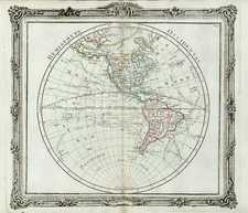 World, Western Hemisphere, South America and America Map By Louis Brion de la Tour