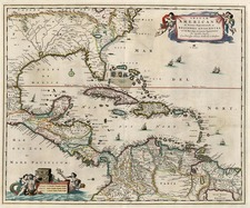 South, Southeast, Caribbean and Central America Map By Nicolaes Visscher I