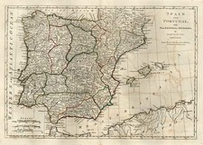 Europe, Spain, Portugal and Balearic Islands Map By Samuel Dunn