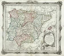 Europe, Spain and Portugal Map By Louis Brion de la Tour