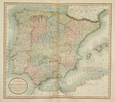 Europe, Spain and Portugal Map By John Cary
