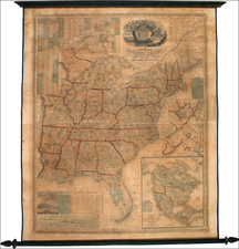 United States, Texas and North America Map By Samuel Augustus Mitchell