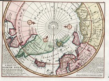 World, Northern Hemisphere and Polar Maps Map By Herman Moll