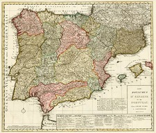 Europe, Spain and Portugal Map By Jan Barend Elwe