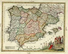 Europe, Spain and Portugal Map By Giambattista Albrizzi
