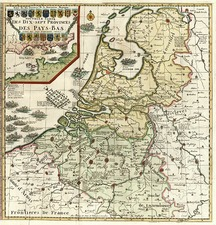 Europe, Netherlands and Germany Map By Henri Chatelain