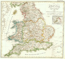 Europe and British Isles Map By Adolf Stieler