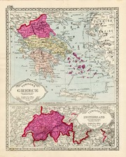 Europe, Switzerland and Greece Map By H.C. Tunison
