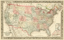 United States and Canada Map By Samuel Augustus Mitchell Jr.