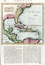 Southeast, Texas, Caribbean and Central America Map By Herman Moll