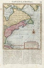 United States, New England and Canada Map By Herman Moll