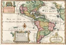 South America and America Map By Nicolas de Fer