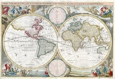 World and World Map By Cornelis II Danckerts