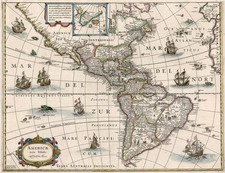 South America and America Map By Willem Janszoon Blaeu