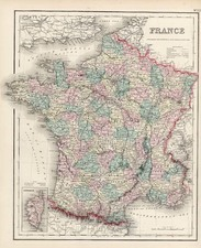 Europe and France Map By Joseph Hutchins Colton