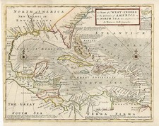 South, Southeast, Caribbean and Central America Map By Herman Moll