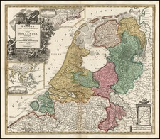 New England, Europe and Netherlands Map By Johann Baptist Homann