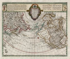 World, Polar Maps, Alaska and North America Map By Joseph Nicholas de L'Isle  &  Leonard Von Euler