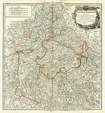 France and Germany Map By Gilles Robert de Vaugondy
