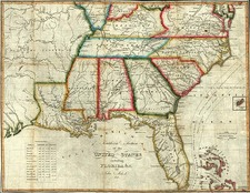 South, Southeast, Texas and Plains Map By John Melish