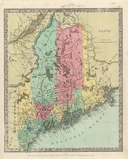 New England Map By David Hugh Burr