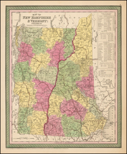 New England, New Hampshire and Vermont Map By Thomas, Cowperthwait & Co.