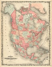 North America Map By Benjamin P Ward  &  Alvin Jewett Johnson