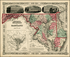 Mid-Atlantic Map By Benjamin P Ward  &  Alvin Jewett Johnson