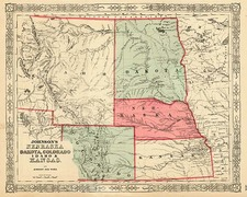 Plains, Southwest and Rocky Mountains Map By Benjamin P Ward  &  Alvin Jewett Johnson