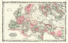 Europe, Europe, Balkans, Mediterranean, Asia and Middle East Map By Benjamin P Ward  &  Alvin Jewett Johnson