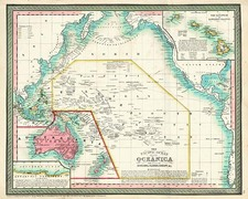 Hawaii, Australia & Oceania, Australia, Oceania and Hawaii Map By Thomas, Cowperthwait & Co.