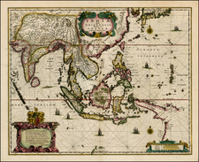 China and Southeast Asia Map By Henricus Hondius