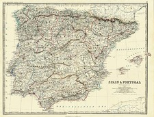 Europe, Spain and Portugal Map By William Blackwood & Sons